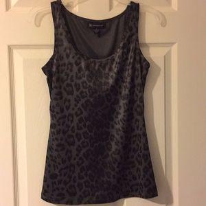 INC Grey/Black Leopard Print Dressy Tank